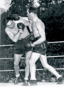 Jimmy delivering a blow to an unlucky opponent. - Photograph provided by Paul Magill