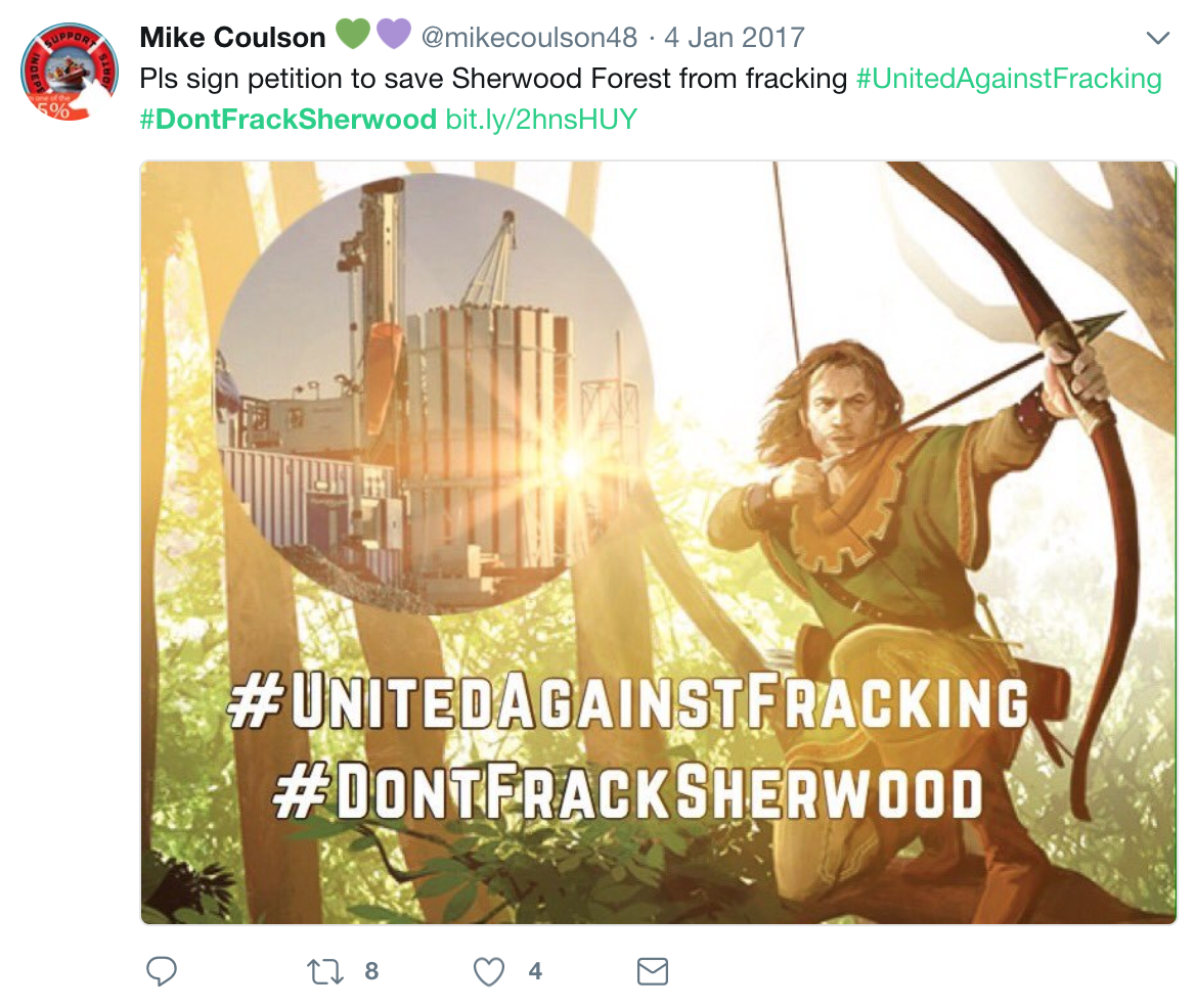 Twitter reaction to sherwood forest fracking