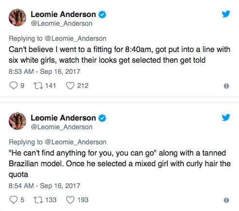 Screenshot from Leomie Anderson Twitter Account taken by myself.