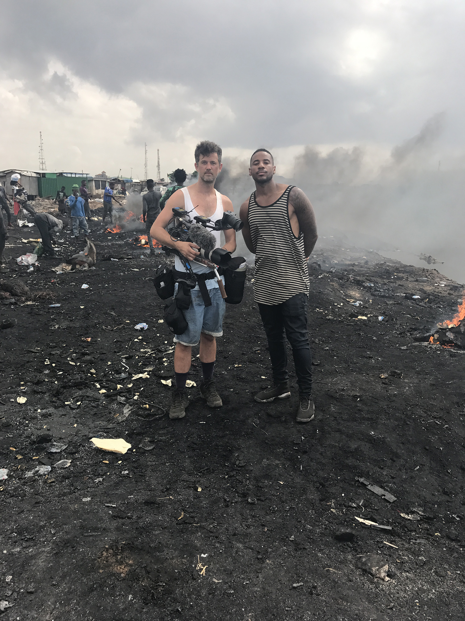 Sam Wilkinson and Reggie Yates on a waste dump in Ghana.