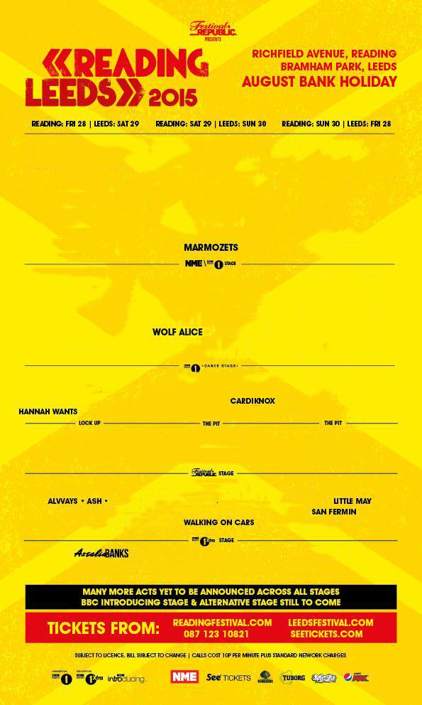 The line-up for Reading and Leeds in 2015