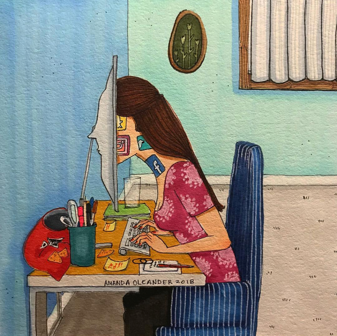 Illustration of a woman with her face deep in her computer monitor