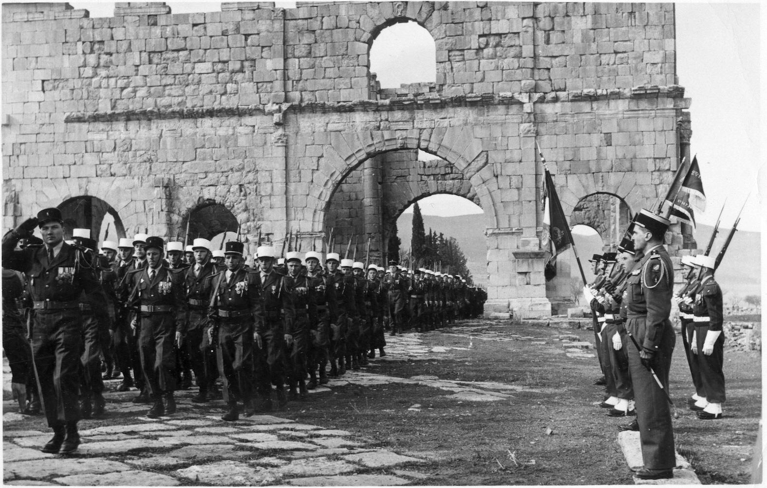 Legionnaires marching in Algeria