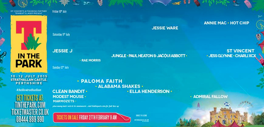 The line-up from T in the Park in 2015