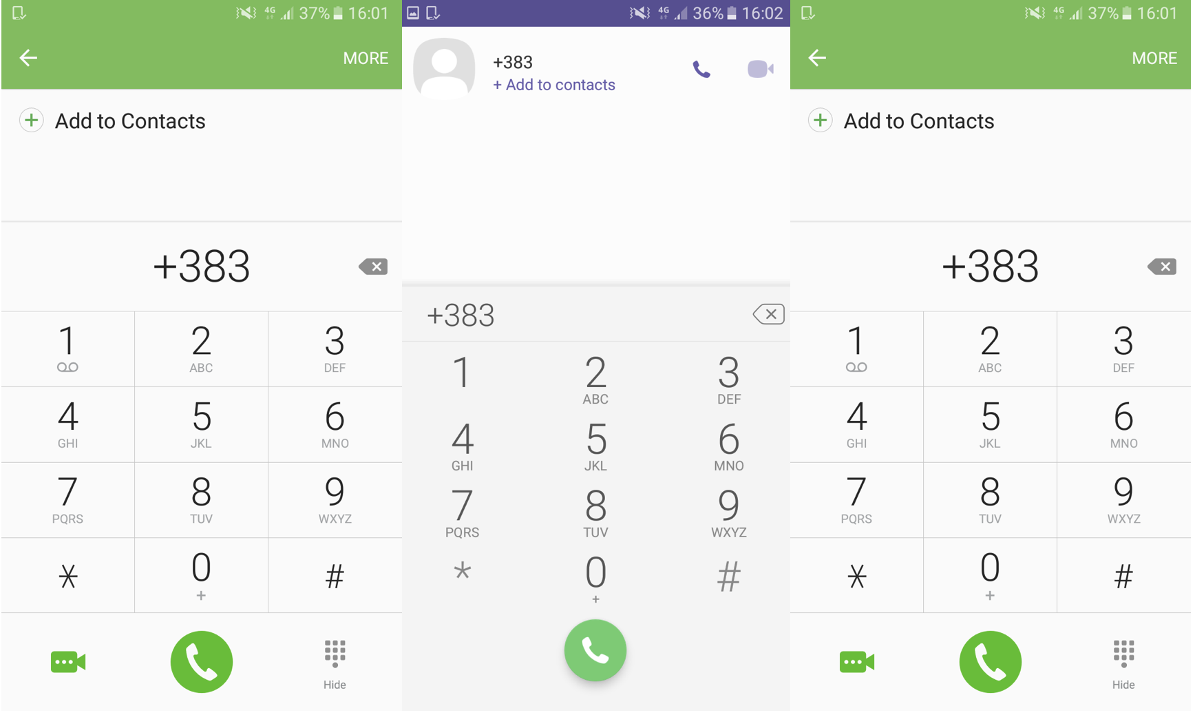 Screenshot of mobile phone using +383 dialling code