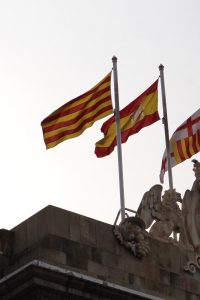 Catalonia, Spain and Barcelona: all three flags at Barcelona's city hall