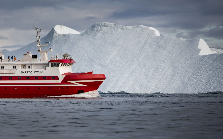 Cruise ship sailing around Greenland