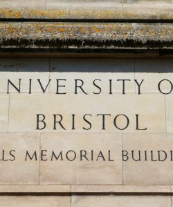 University of Bristol plaque at the Wills memorial building