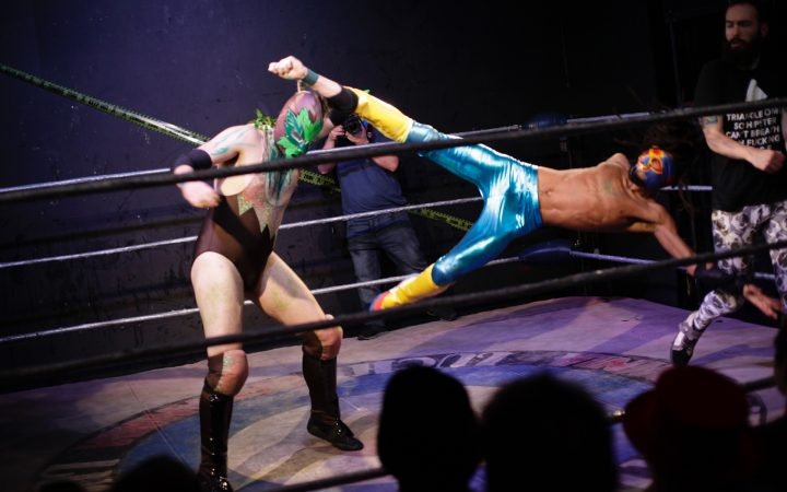 Wrestlers in action at Lucha Britannia