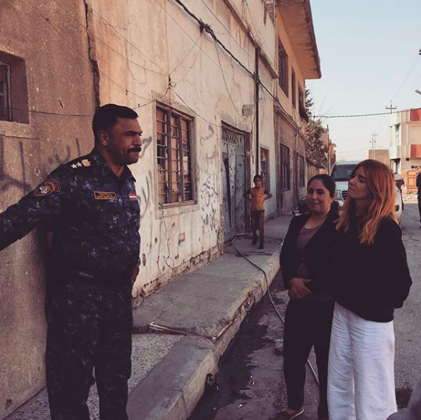Stacey with Shireen and the Commander in the old city of Mosul