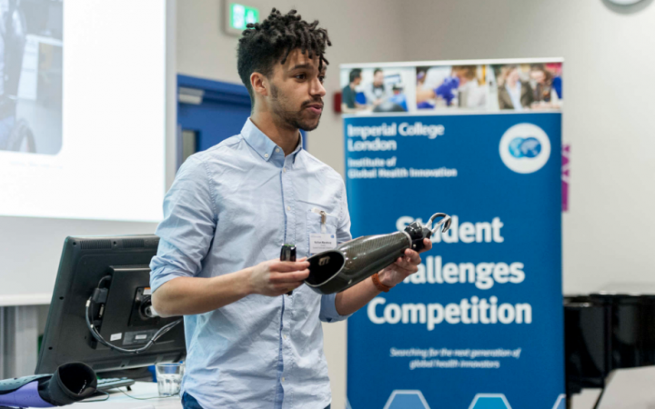 Photograph of Nate, during his competition pitch at Imperial university