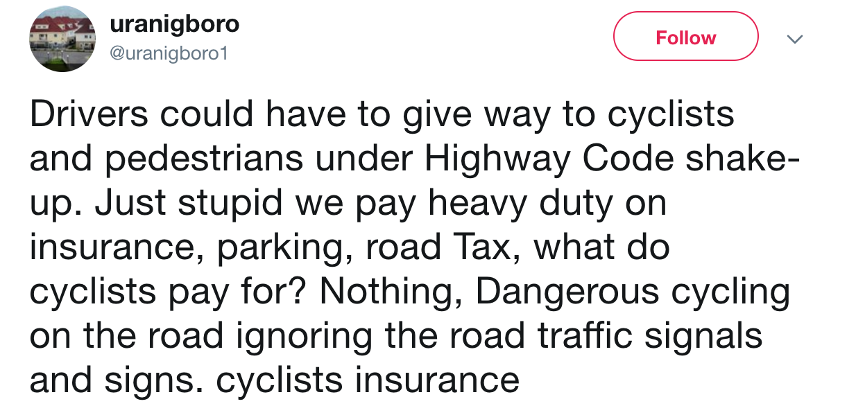 Twitter users have shown animosity towards cyclists [@uranigboro1]