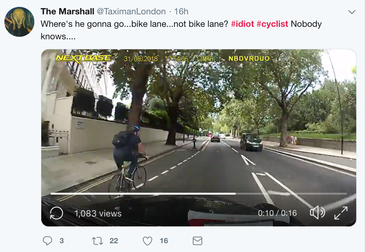 A London taxi driver posted a video online [Twitter@TaximanLondon]