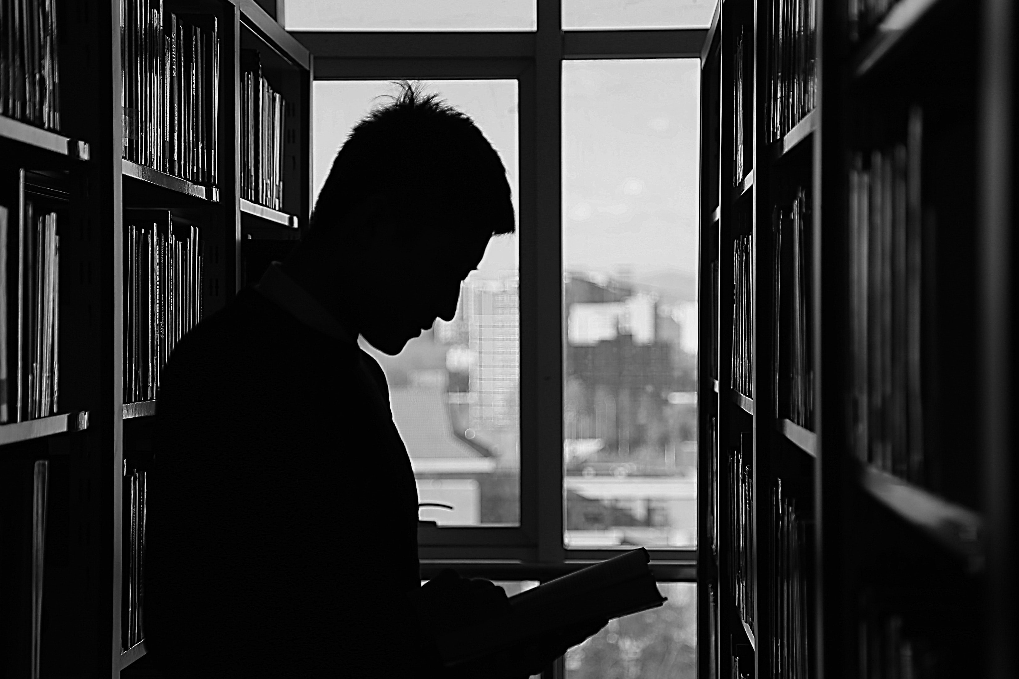 library, black and white, reading