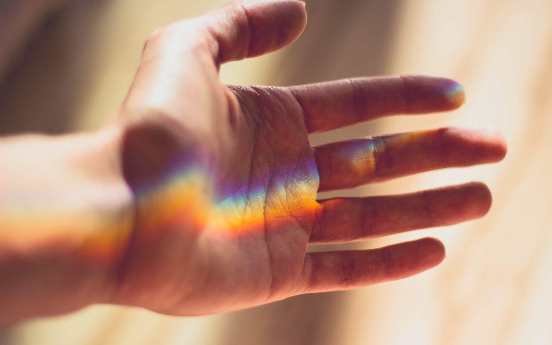 Hand, rainbow