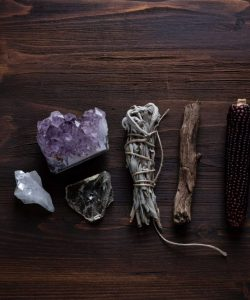 image of crystals and sage