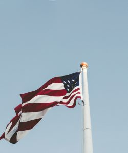 american flag on a pole