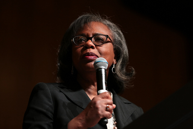 Anita Hill speaking with attendees at the John P. Frank Memorial Lecture at the Student Pavilion at Arizona State University - 2018
