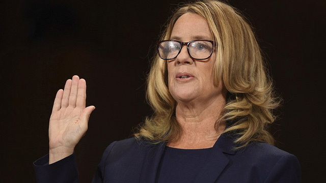 Christine Blasey Ford is sworn in to testify before the Senate Judiciary Committee - 2018