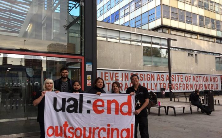 Protesters standing outside London College of Communication, 17th January 2019