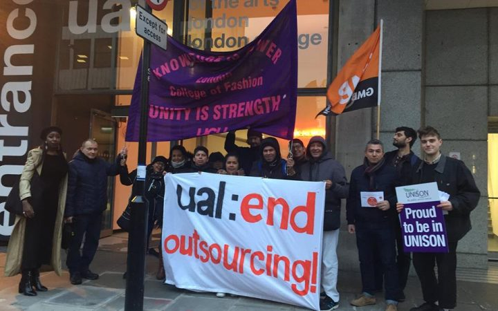Picture of UAL cleaners protesting outside London College of Fashion on the 19th of November 2018.[UAL:End Outsourcing campaign]