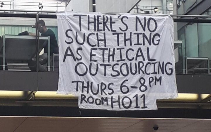 Picture of banner hung up at UAL campus[Amber Genoni from the UAL:End outsourcing team]