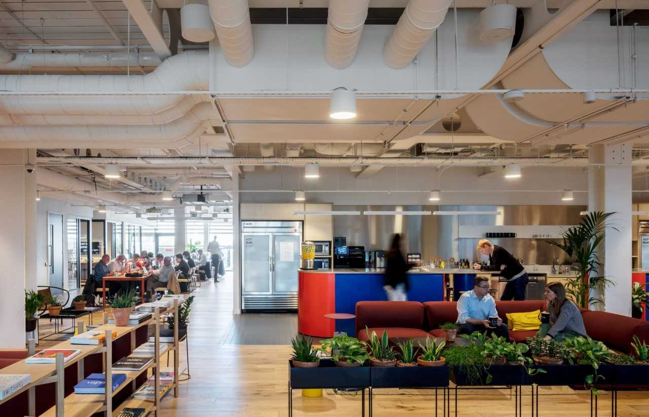 WeWork Office with social kitchen and working environment