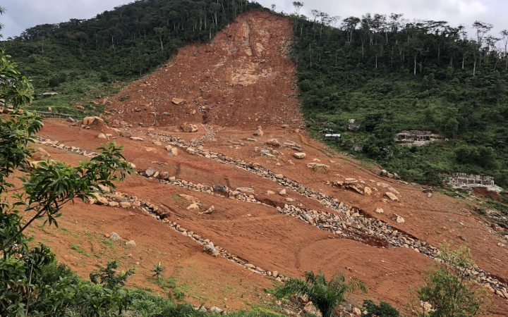 The desolate cliff face of Mount Sugarloaf that stands as a constant reminder of the devastating 2017 mudslide