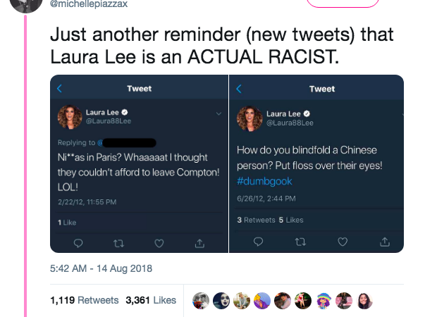 screen shot of laura lees racist tweets