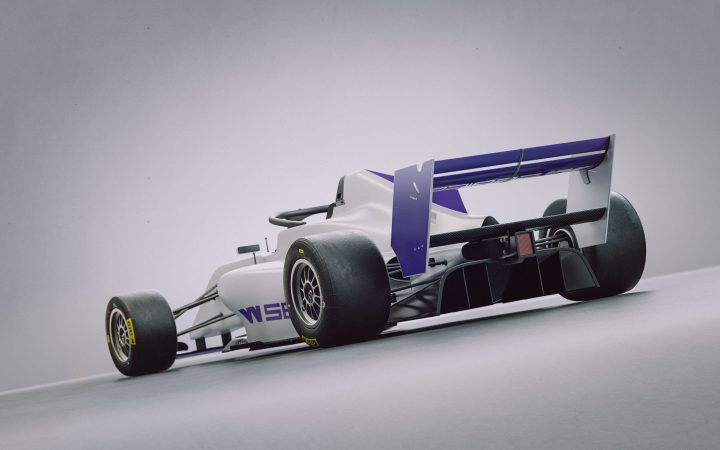 The W Series F3 car. Single seater, with a white and purple body photographed against a white backdrop.