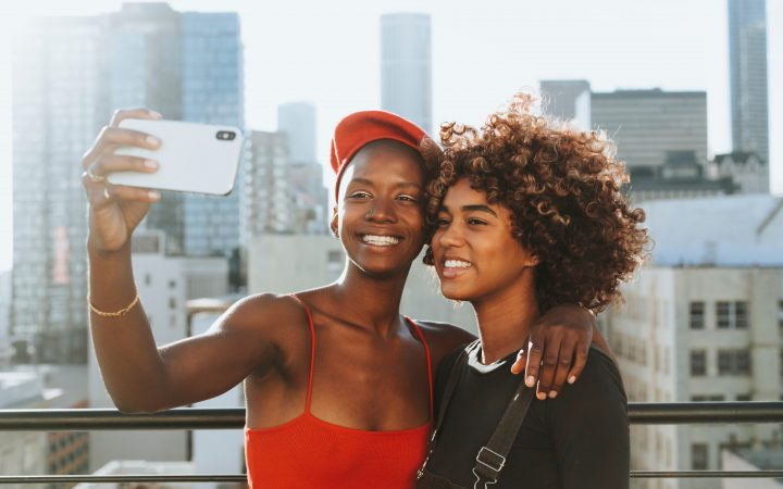 Two women taking selfie