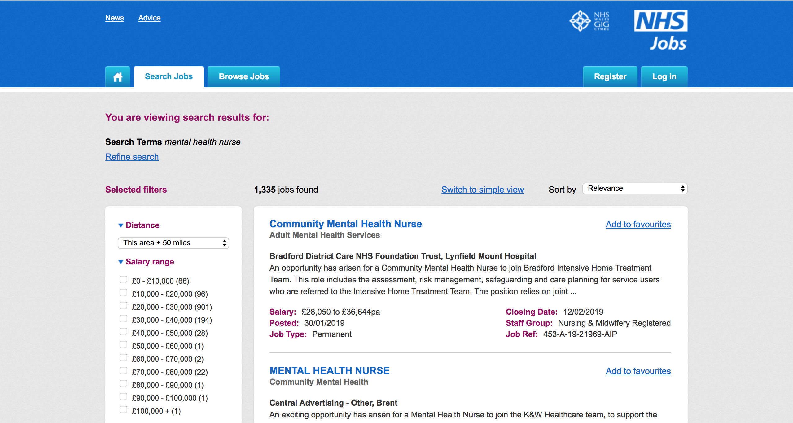 a screenshot of the NHS Jobs Website, showing more than a thousand vacant mental health nursing posts