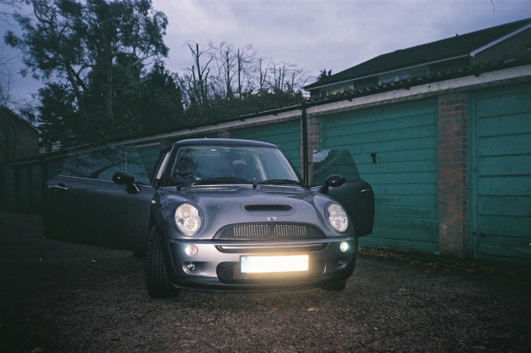 Jamie's Mini Cooper with open doors