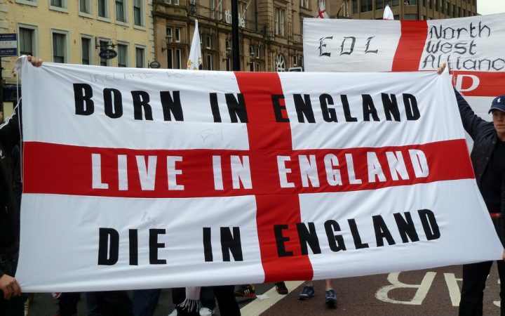 A typical display at an EDL march