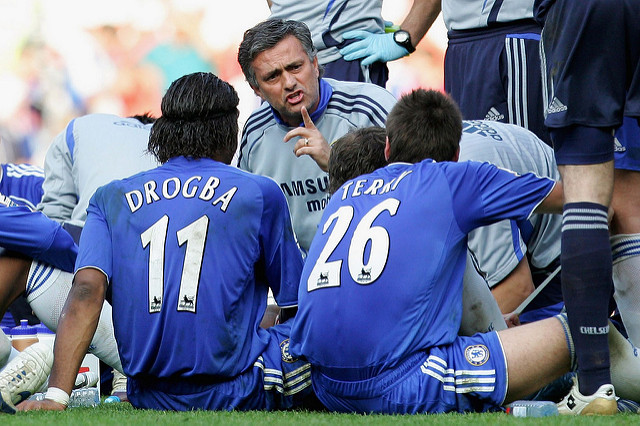 Manager Jose Mourinho instructing his chelsea players