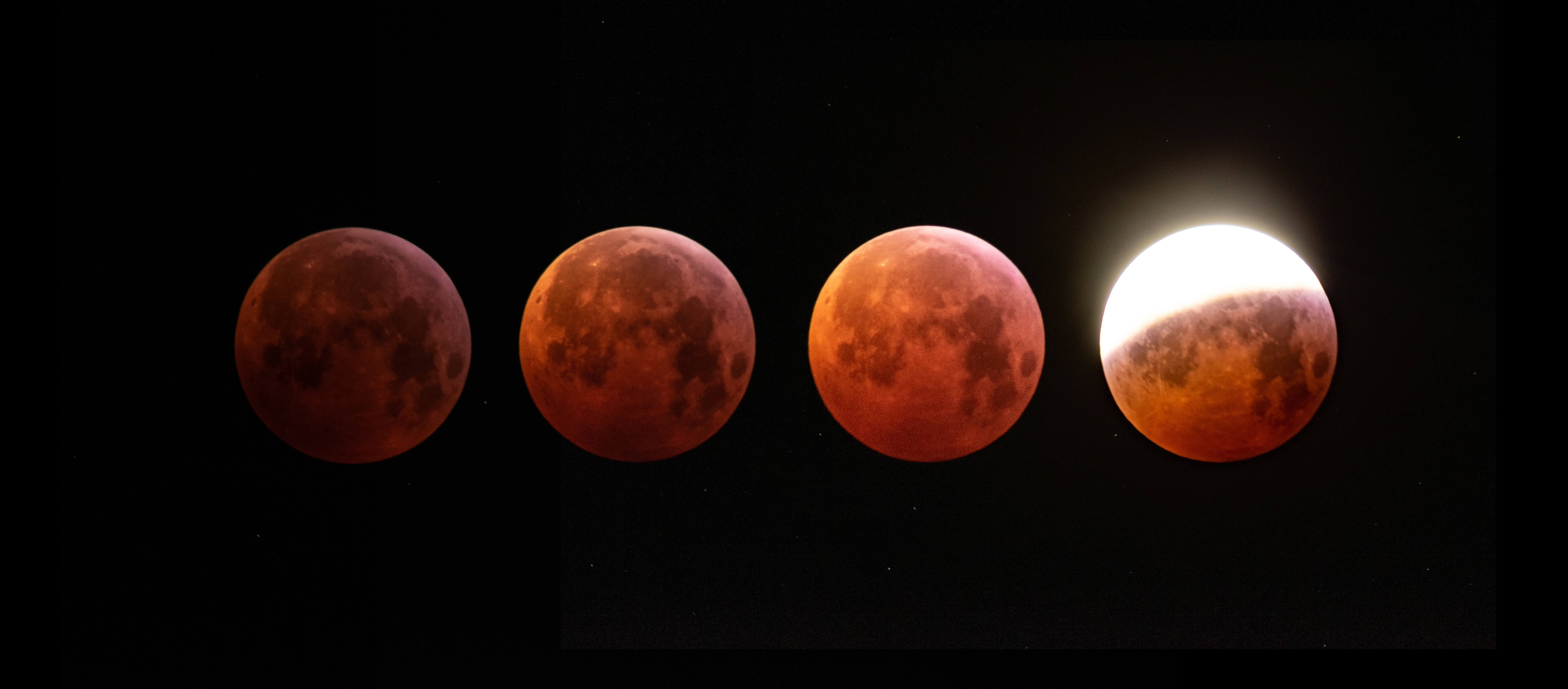 phases of the super wolf blood moon and lunar eclipse