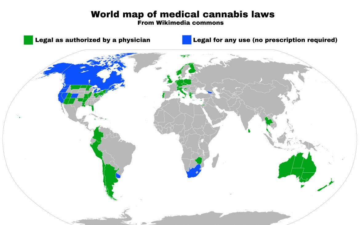 World map of medical cannabis laws [Image: Creative Commons Attribution-Share Alike 4.0 International]