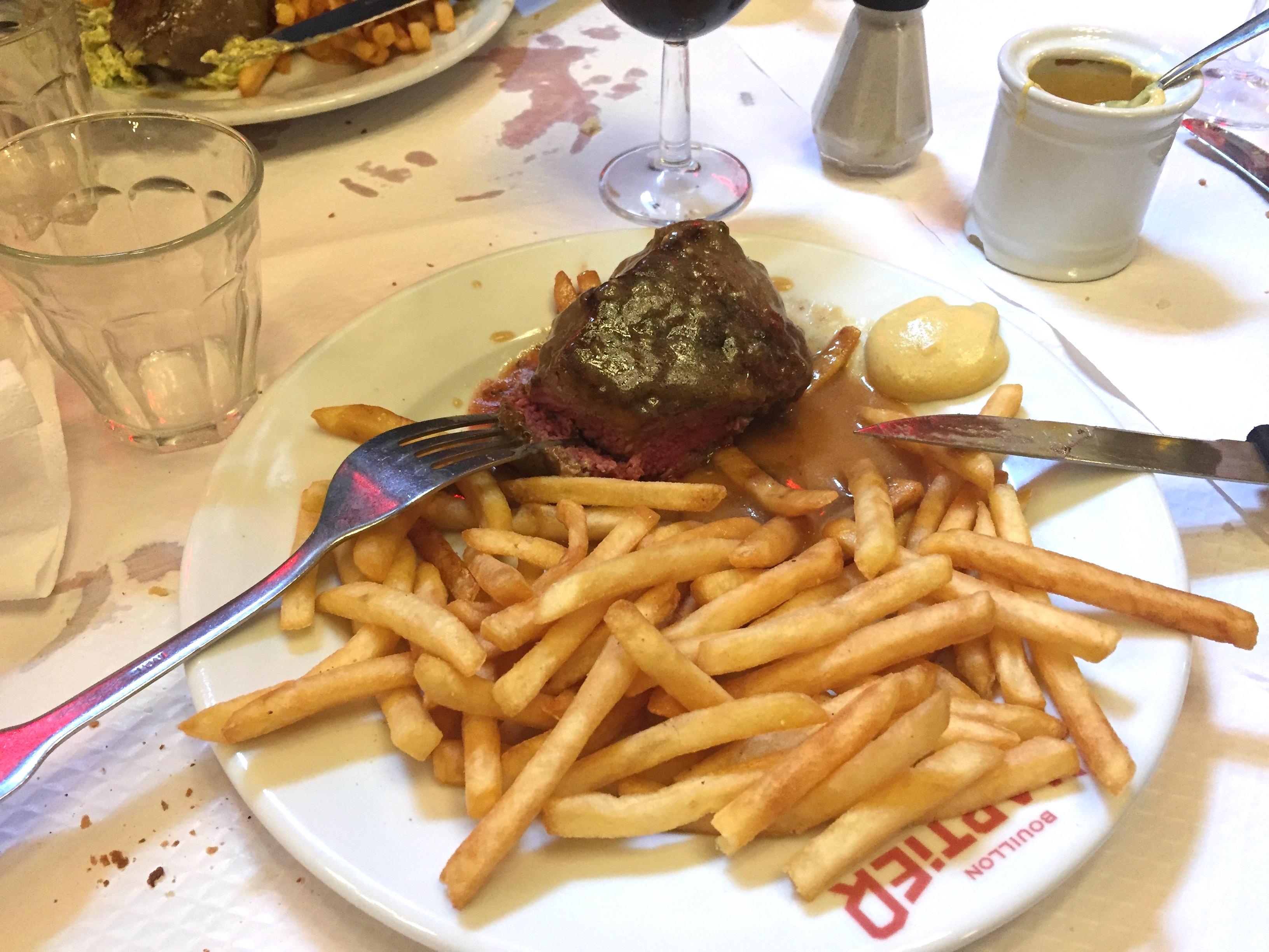 Steak-frites at Le Bouillon Chartier