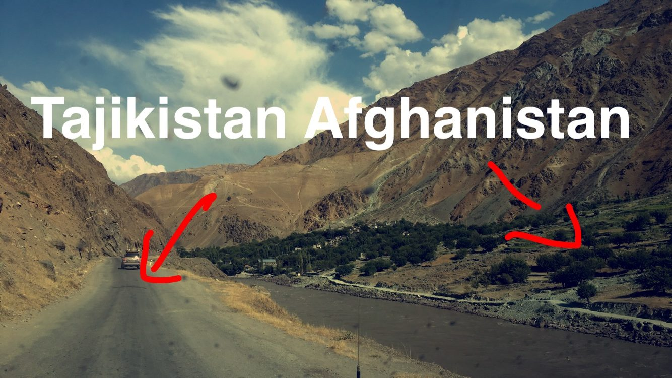 mountainous landscape showing Tajikistan on the left and Afghanistan on the right hand side, separated by a river