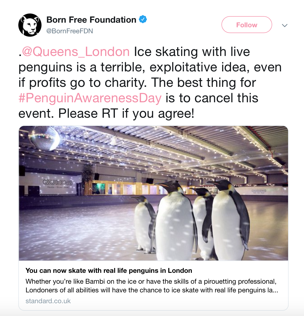 A tweet from an animal rights group urging the venue to cancel the event.