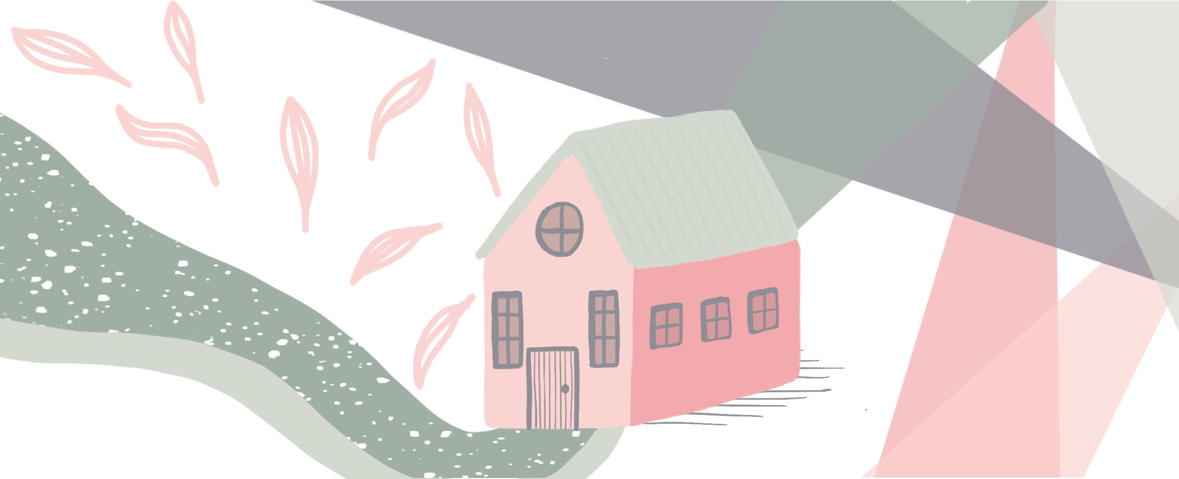 A pathway to a home illustration