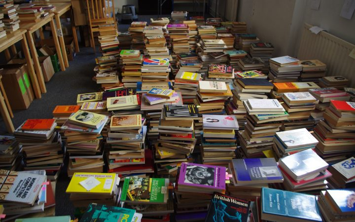 Books stored waiting for move to peckham