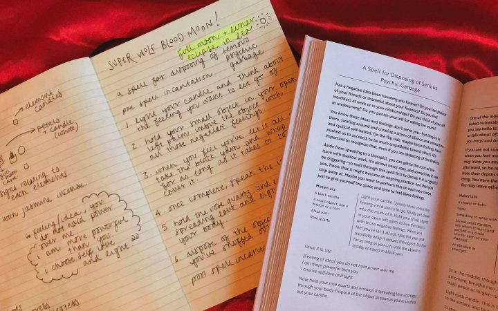 image of a handwritten spell book and a book on light magic for dark times