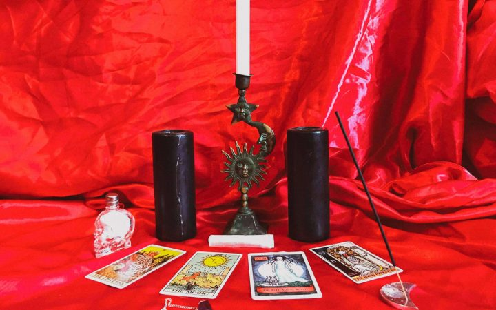 a mini set up of trinkets for the spellcasting