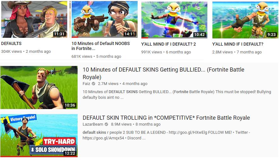 collection of print screens from youtube of videos on new players in fornite