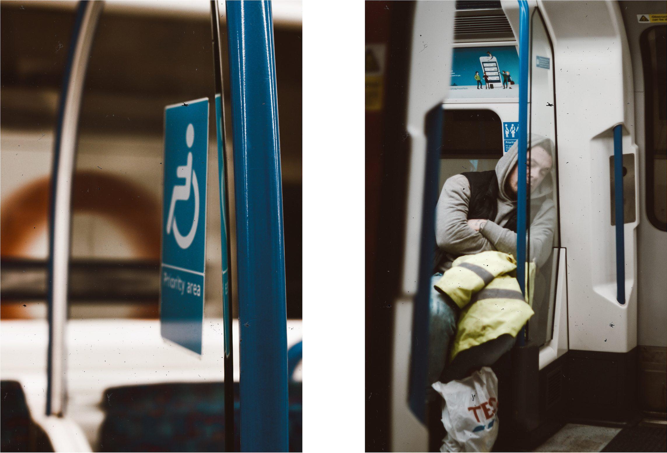 Man sleeping on the tube [Irene Chirita]