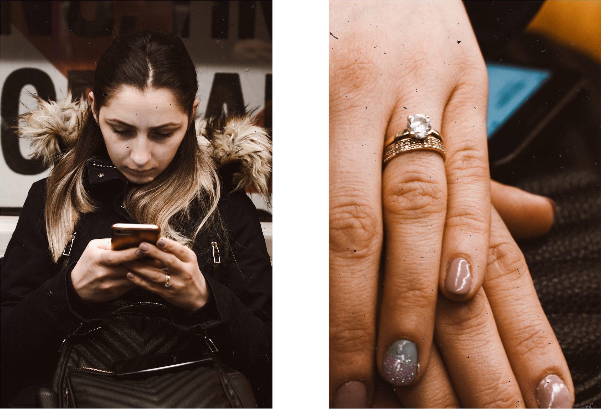 Ancuta on her phone early in the morning [Irene Chirita]