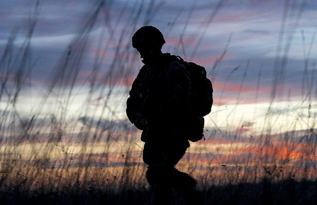 Soldier in battlefield Credit: UK MOD © Crown copyright 2019 Photographer: Cpl Jamie Hart Image 45165003.jpg from www.defenceimages.mod.uk