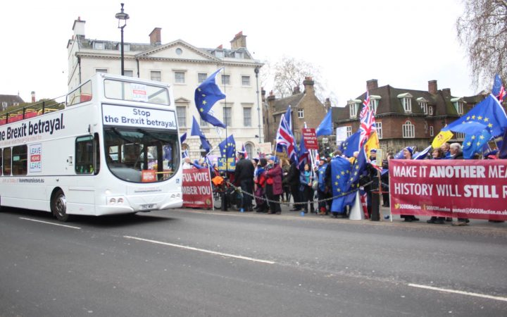 Image of bus and protesters at Westminster 29th January 2019 [Hannah Dardis]