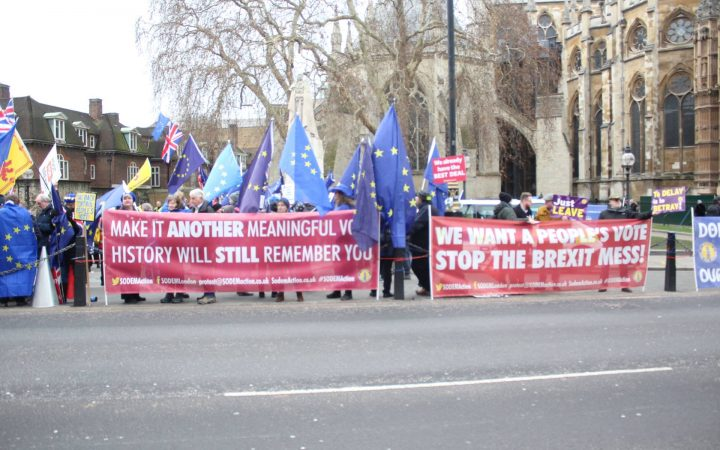 Bus and protesters in Westminster, January 29th 2019 [Hannah Dardis]
